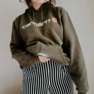 CARHARTT • spellout olive hoodie sweatshirt